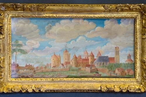 Vue du château gouache sur papier collée