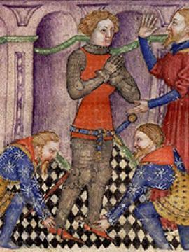 Enluminure représentant Galaad adoubé par Lancelot dans une chapelle d'abbaye