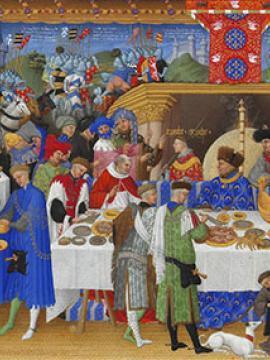 Enluminure représentant un banquet
