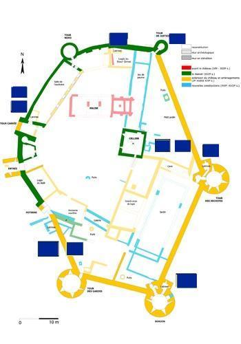 Plan du château avec emplacement des latrines