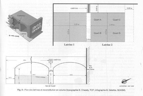 Plan des latrines et reconstitution en volume
