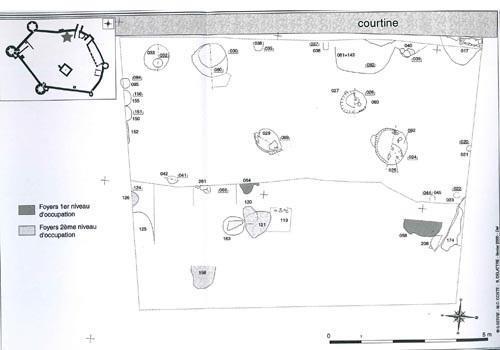 Plan du logis sud appelé le logis du Bailli : niveaux des XIIe-XIIIe siècles
