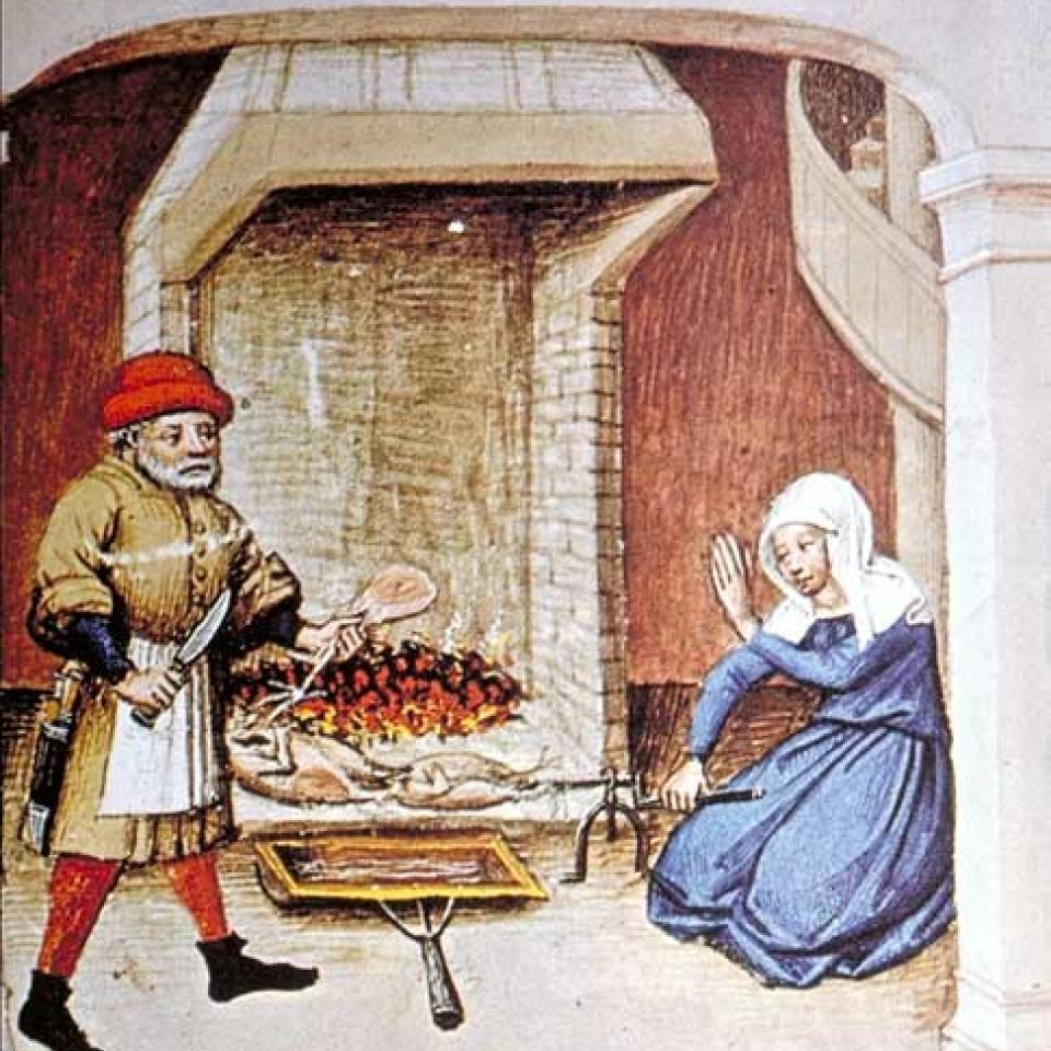 Dessin représentant un cuisinier et une femme tournant la broche dans le feu de cheminée